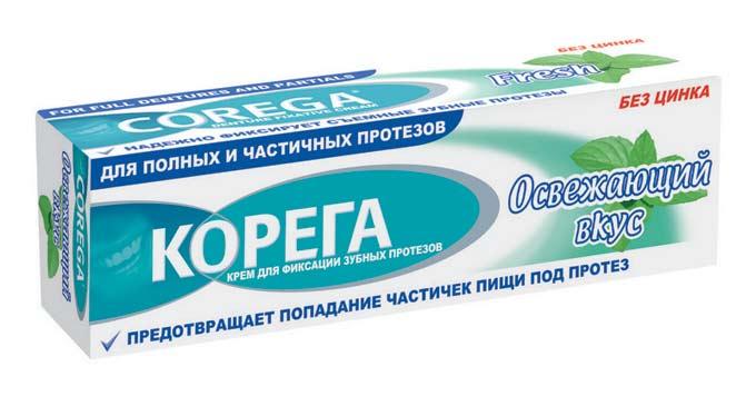 корега крем для фиксации зубных протезов